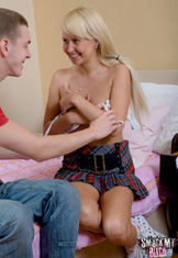 Blonde teen and fixture