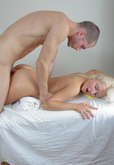 Erotic rub-down with the addition of hardcore bonk